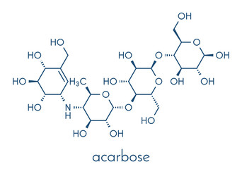 Acarbose diabetes drug molecule. Blocks carbohydrate digestion by inhibiting alpha-glucosidase enzymes. Skeletal formula.