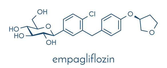 Empagliflozin diabetes drug molecule. Skeletal formula.