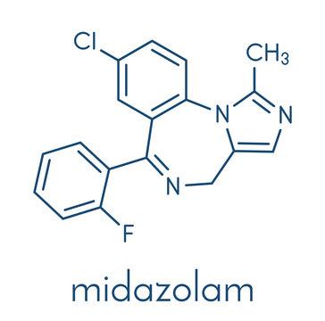 Midazolam benzodiazepine drug molecule. Has sedative, anxiolytic, amnestic, hypnotic, anticonvulsant, etc properties. Skeletal formula.