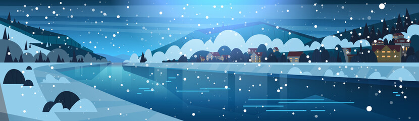 Winter Landscape Of Night In Small Village On Banks Of Frozen River And Mountain Hills Covered With Snow Horizontal Banner Flat Vector Illustration