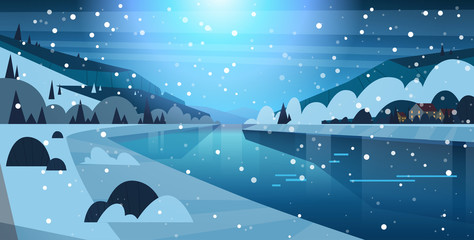 Night Winter Nature Landscape Houses On Frozen River Hills And Falling Snow Flat Vector Illustration