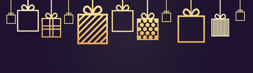 Holiday Background Decoration Horizontal Banner With Gift Boxes Hanging Vector Illustration