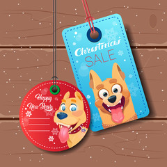 New Year Sale Tags Set With Dog Holiday Discount On Wooden Textured Background Vector Illustration