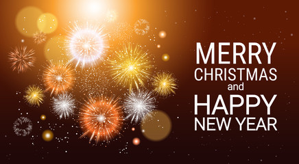 Christmas Fireworks Bursting And Sparkling Against Night Background Happy New Year Banner Vector Illustration