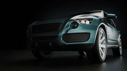 Blue suv car in studio photography.