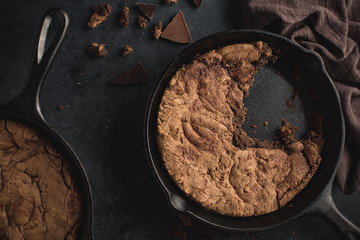 Close up of chocolate chip skillet cookie.