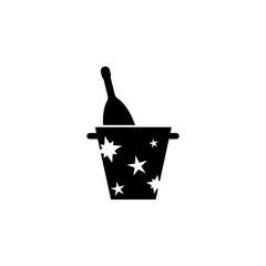 bucket of champagne Icon. Simple Christmas, New Year icon. Can be used as web element, playing design icon