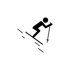 Skiing icon. Simple winter games icon. Simple winter elements icon. Can be used as web element, playing design icon