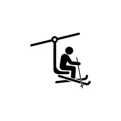 ski lift with man icon. Simple winter elements icon. Can be used as web element, playing design icon