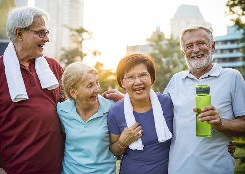 Group of diverse elderly exercise together