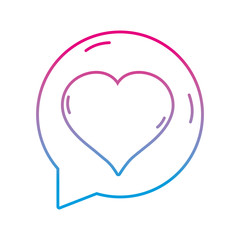 line chat bubble with heart inside to love message