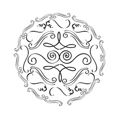 round vintage decorative scroll ornament element vector illustration