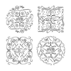 set of ornate vintage design elements with calligraphy swirls banners round square vector illustration