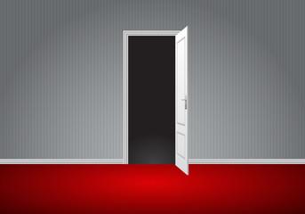Realistic white door open on gray wall red floor room perspective vector illustration.