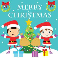 MERRY CHRISTMAS HOLIDAY SEASON CELEBRATION VECTOR ILLUSTRATION CHARACTER