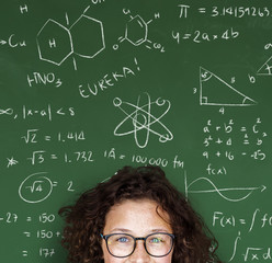 A Girl Student with Blackboard