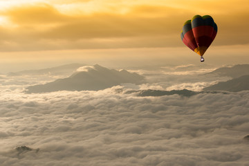 Garden Poster Brown Beautiful landscape of Foggy morning in the Mountains with hot-air balloons flying over the mountain.