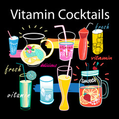 Beautiful graphics set of vitamin cocktails