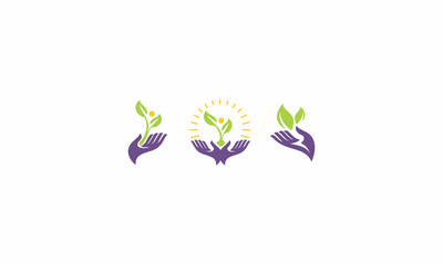 leaves, hands, emblem symbol icon vector logo