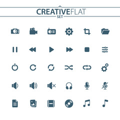Universal Multimedia Flat Icons Set for Your Web Design, Mobile Design, Infographics, and other