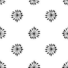 Abstract floral seamless pattern. Black and white scandinavian vector background. Perfect for wallpapers, pattern fills, web page backgrounds, surface textures, textile
