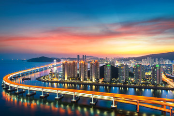 Wall Mural - Sunset in Busan city with building