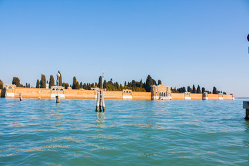 Venice City of Italy. View on San Michele cemetery, Venetian old graveyard