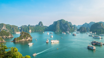 Beautiful Halong Bay landscape view from the Ti Top Island. Halong Bay is the UNESCO World Heritage Site, it is a beautiful natural wonder in northern Vietnam near the Chinese border.