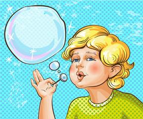 Vector pop art illustration of cute kid blowing bubbles