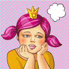 Vector pop art illustration of girl with gold crown on head
