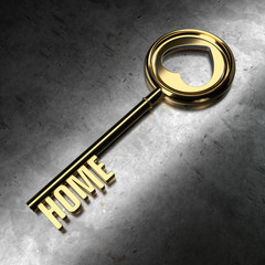 Gold Key with Home Word on Metal Background.