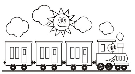 Train set, three wagons locomotive. Funny vector illustration. Train and sun. Locomotive with eyes and mouth. Coloring page for children.