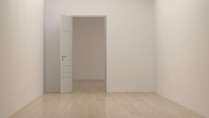 empty room modern space interior 3d rendering white room and open door