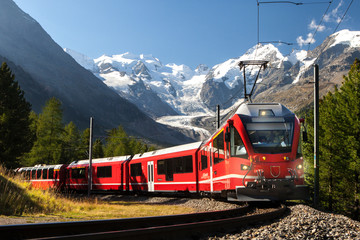 Wall Murals European Famous Place switzerland train at moteratsch glacier Bernina