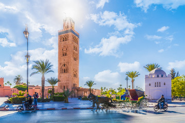 Poster Morocco Koutoubia Mosque minaret located at medina quarter of Marrakesh, Morocco