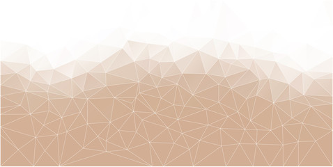 Abstract Polygonal Mosaic background of triangles light cream color. Blurry pink grid. Color...