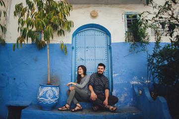 Loving couple in the Sahara Desert. Morocco.