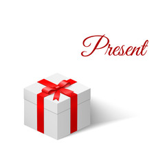 Present. White box with a bow tied with ribbon. Vector illustration