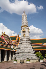 Pagoda is in Wat Pho that was named as the temple of the pagoda or chedi that are decorated with yellow glaze or glazed tiles or dark blue