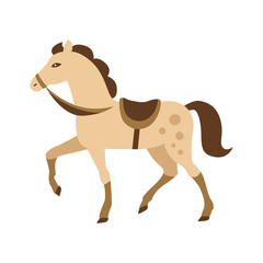 Cartoon Horse Vector Illustration Isolated White