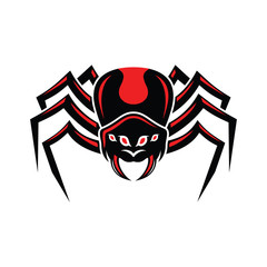 Mascot Redback spider front view vector illustration.