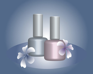 Background with nail polish and flowers. For an advertising leaflet, banner.