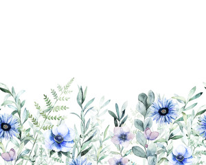 Meadow watercolor template. Hand drawn illustration