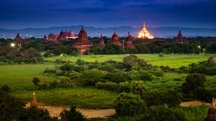 Ancient Land of Bagan view from the top of Shwesandaw Pagoda