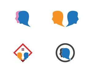 Face people head logo design template