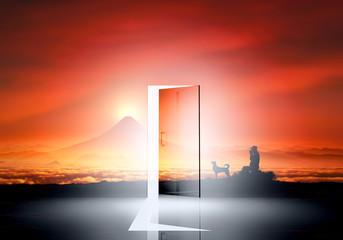 光が差し込むドアと富士山の日の出と犬のシルエット