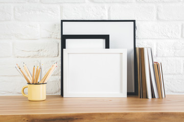 Desktop with picture frame and supplies