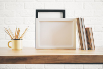Desk top with picture frame and supplies