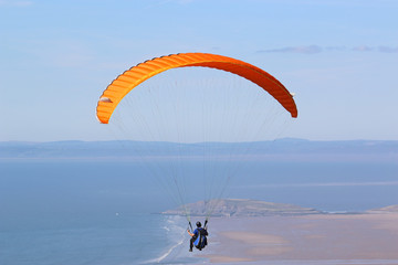 Paraglider above Rhossili Beach