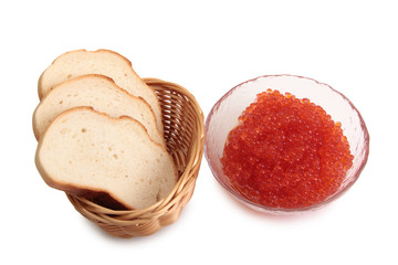 Fish eggs and bread on a white background
